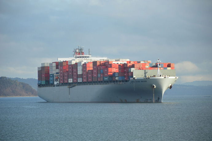 Photo by Holly A. Senn of a cargo ship on Commencement Bay in Washington, US
